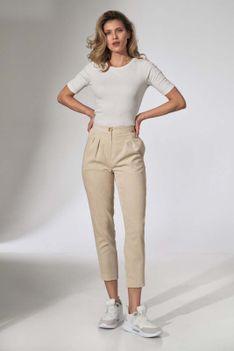 Sztruksowe Spodnie z Zakładkami - Beżowe