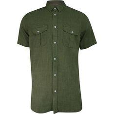 Koszula męska BRAVE SOUL z krótkimi rękawami lniana na lato