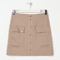 Sinsay - Spódnica mini w kratkę - Beżowy