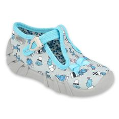 Befado obuwie dziecięce 110P414 niebieskie szare
