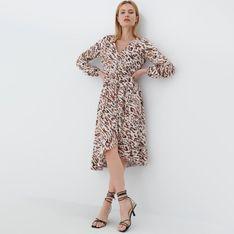 Mohito - Wzorzysta sukienka midi - Beżowy