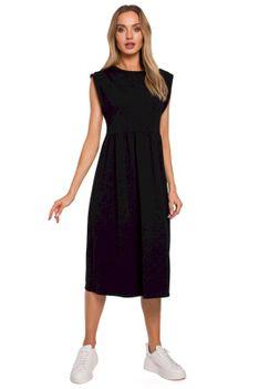 Bawełniana Midi Sukienka z Podwyższonym Stanem - Czarna