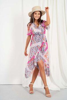 Letnia Sukienka z Asymetryczną Falbanką - Wzór 16