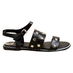 Goodin Czarne Sandały Z Dżetami