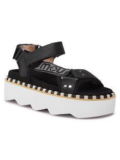 Mou Sandały New Bio Sandal Side Logo SW271006N Czarny