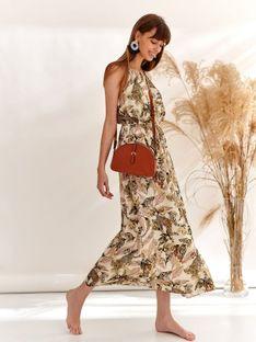 Długa sukienka na ramiączkach w tropikalny print