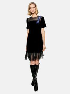 Welurowa sukienka z siateczkową falbanką L`AF ENJOY