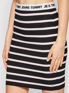 Tommy Jeans Spódnica mini Stripe Bodycon DW0DW10144 Czarny Slim Fit