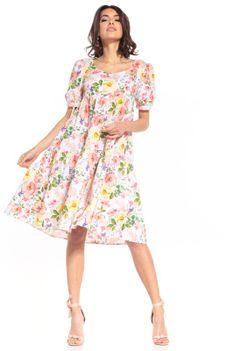 Sukienka Midi z Falbanką we Wzory - Wielokolorowe Kwiaty