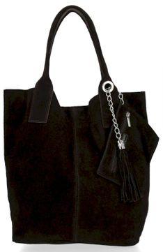 Włoskie Torebki Skórzane Uniwersalny Shopper Bag Czekolada (kolory)