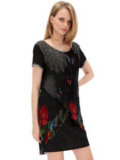 Sukienka dwuwarstwowa z plisowaną górą Desigual SARA