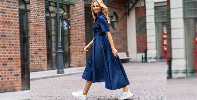 Get the look: Małgorzata Socha w granatowej sukience ze swojej kolekcji dla marki Monnari. Ten krój to hit na wiosnę!