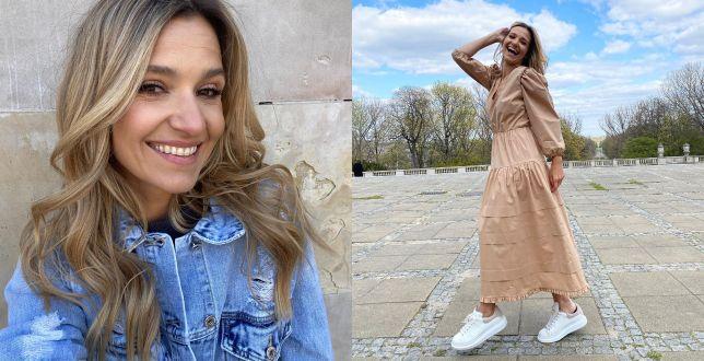 Get the look: Joanna Koroniewska w beżowej maxi z falbanami. Wiemy, gdzie znaleźć podobne modele