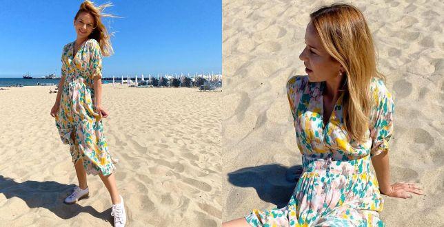 Get the look: Paulina Sykut-Jeżyna w kolorowej sukience z kolekcji Reserved. To hit sezonu!