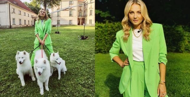 Get the look: Małgosia Socha zachwyca w zielonym garniturze. Wiemy, gdzie znaleźć podobne modele!