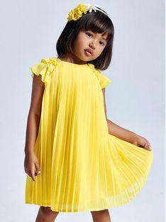 Mayoral Sukienka elegancka 3911 Żółty Regular Fit