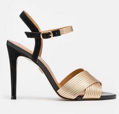 Czarno złote sandały damskie