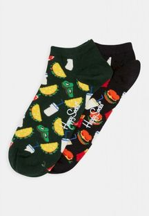 HAPPY SOCKS - HAMBURGER LOW SOCK 2 PACK - Skarpety - czarny