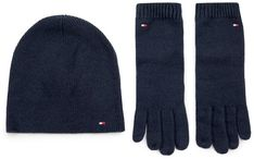 Zestaw Czapka i Rękawiczki TOMMY HILFIGER - Flag Knit Beanie & Gloves Gp AW0AW07198 CJM
