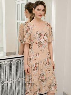 Kwiecista sukienka z plisowanymi falbanami Potis & Verso Rocco