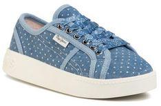 Pepe Jeans Sneakersy Brixton Denim PGS30430 Niebieski