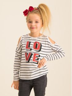 Primigi Bluzka Black Love 43213531 Biały Regular Fit