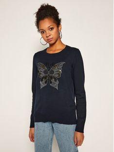 Desigual Sweter Butterfly 20WWJF91 Granatowy Regular Fit