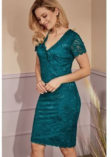 Sukienka Risca zielona ołówkowa z elastanu z krótkim rękawem