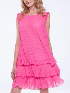 Plisowana sukienka z falbanami L`AF SUSAN