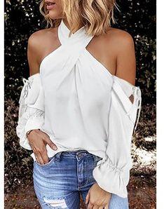 Bluzka damska Sandbella z długim rękawem z szyfonu