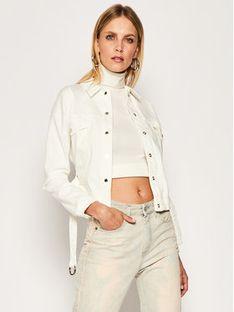 Patrizia Pepe Kurtka jeansowa 2J2309/A6W8-W146 Biały Regular Fit