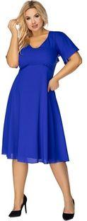 Sukienka niebieska Ptakmoda.com z krótkim rękawem na sylwestra midi na wiosnę