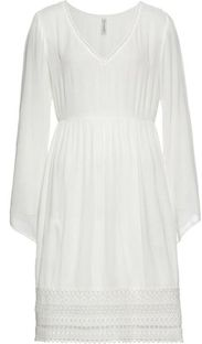 Sukienka biała Bonprix mini z długim rękawem