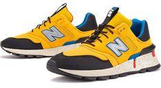 New Balance buty sportowe męskie żółte wiązane skórzane