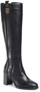 Kozaki TOMMY HILFIGER - Th Interlock High Heel Long Boot FW0FW05188 Black BDS