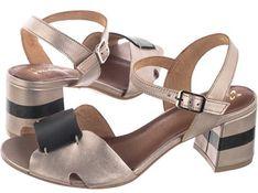 Sandały damskie Maciejka skórzane na średnim obcasie z klamrą casual na
