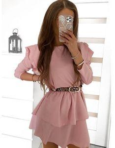 Sukienka Pakuten mini różowa z okrągłym dekoltem z długim rękawem