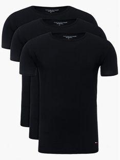Tommy Hilfiger Komplet 3 t-shirtów Essential 2S87905187 Czarny Regular Fit