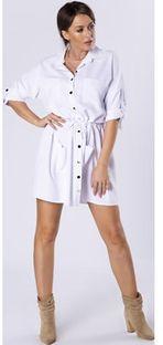 Sukienka Ptakmoda.com szmizjerka z kołnierzykiem z długimi rękawami mini