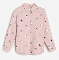 Reserved - Wzorzysta koszula z wiskozy - Różowy