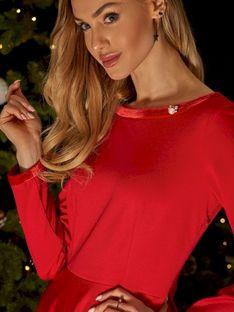 Czerwona sukienka z welurowym wykończeniem L`AF WALEO