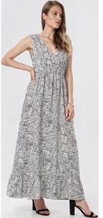 Sukienka Born2be rozkloszowana w serek maxi bez rękawów