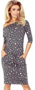 Sukienka Ptakmoda.com prosta wielokolorowa z dekoltem w łódkę mini casual z długim rękawem