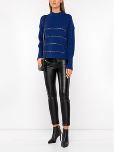 The Kooples Sweter FPUL19023K Granatowy Oversize