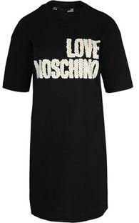 Sukienka Love Moschino z napisem czarna z okrągłym dekoltem