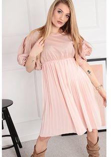 Sukienka Ptakmoda.com z długim rękawem różowa mini z tiulu dzienna gładka