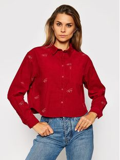Tommy Jeans Koszula Critter Cord DW0DW08912 Bordowy Cropped Fit