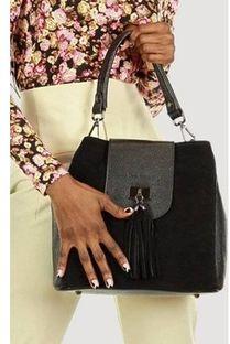 Shopper bag Merg skórzana na ramię z frędzlami boho