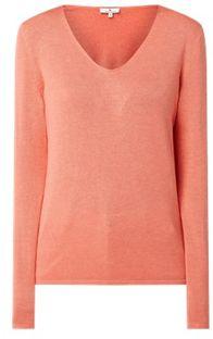 Sweter damski pomarańczowa Tom Tailor z dekoltem w serek