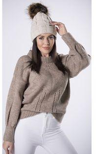 Sweter damski Ptakmoda.com tkaninowy brązowy na zimę